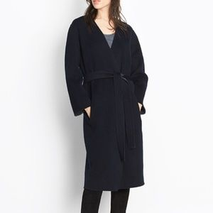NWT VINCE REVERSIBLE BELTED WOOL CASHMERE COAT NAV